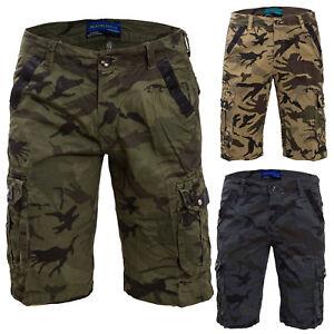 aca181af6b3b Caricamento dell'immagine in corso Bermuda-UOMO-cargo-pantaloni-tasconi- laterali-mimetici-militari-