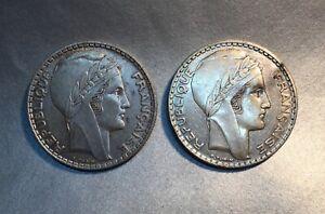 20 Francs 1937 Turin 20 Francs 1938 Turin / Monnaies En Argent - Lot -