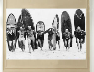 A1 A2 A3 A4 Surf Beach Vintage Art Print Poster Frame Black White Surfing Boards