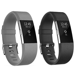 2x Ersatz Armband Schwarz Grau für Fitbit Charge 2 Fitness Sport Tracker