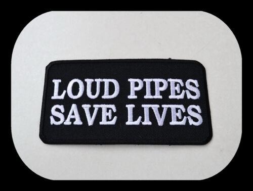 Biker v2 aufbügler patch ricamate LOUD PIPES Save Lives Harley Chopper v8