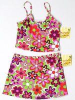 Banana Cabana Mod Floral Swim Skirt Top Size 12