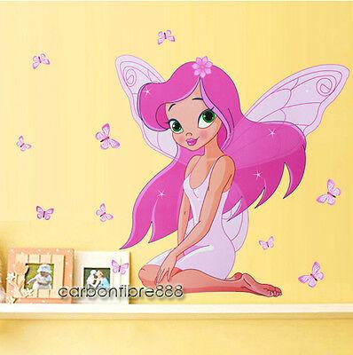 PINK FAIRY PRINCESS Butterflies Wall Stickers Girls Room Nursery vinyl Art Decal