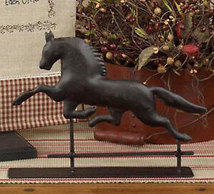 Image Is Loading Cast Metal Horse Weathervane Tabletop Decor Black Pedestal