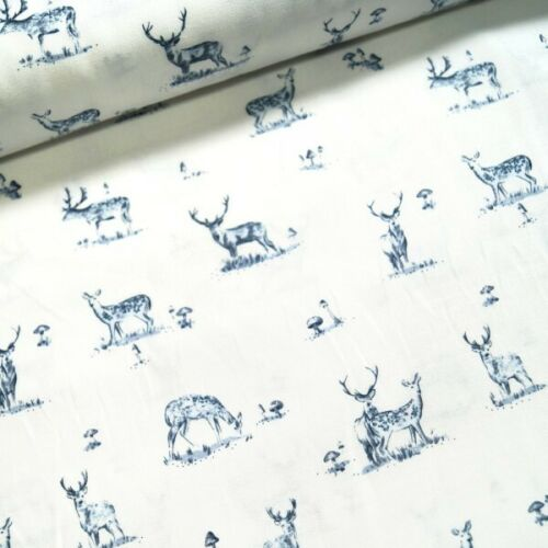 SALE Dear Stella 100/% Cotton Fabric Woodland Stags /& Doe Mushrooms