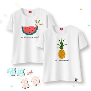 Harajuku Cute Women Cotton Watermelon Printing White T-shirt Loose Short Sleeve