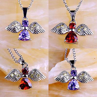 Amethyst Morganite & Garnet & Pink Topaz Gemstone Silver Pendant Necklace Flying