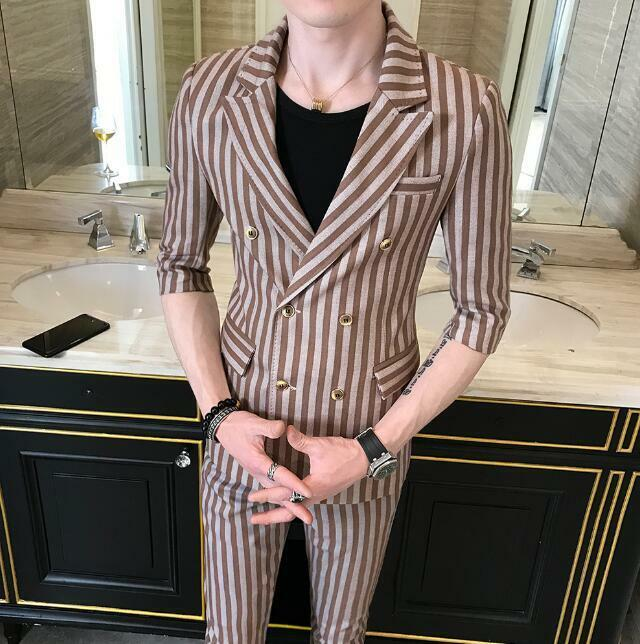 Mens Stripe Double Breasted Lapel Collar Blazer Coat Slim Casual Pant 2 Pcs Sui