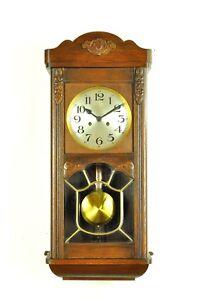 Antique German Art Nouveau Spring Driven Wall Clock Bim Bam Chime Approx 1930 Ebay