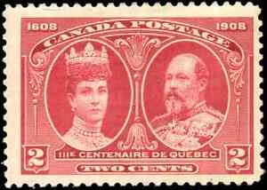 Canada-98-mint-F-VF-OG-LH-1897-Quebec-2c-carmine-KEVII-amp-Queen-Alexandra