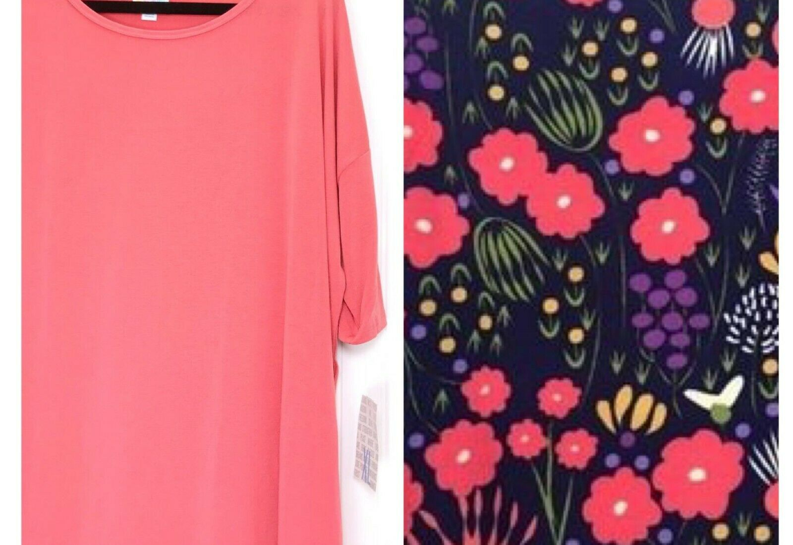 82608b32c95f10 LuLaRoe Size XL Solid Coral Irma Top & TC 12-18 Navy Leggings NWT Tunic  Floral nzvswb15312-Leggings