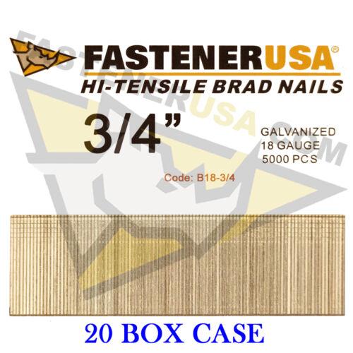 "Case of 20 3//4/"" 18 Gauge Straight Brad Finish Nails 18 ga 5,000 ct"