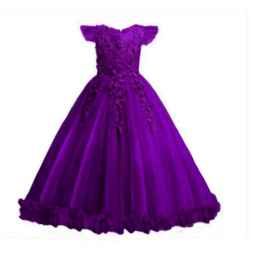 Kids Flower Girl Princess Dress for Girls Party Wedding Bridesmaid Gown ZG9