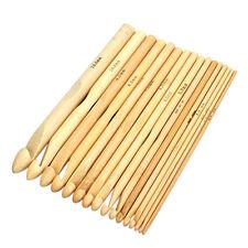 """2-12mm Bamboo Handle Crochet Hook Knit Craft Knit Needle Weave Yarn 16pcs/set 6"""""""