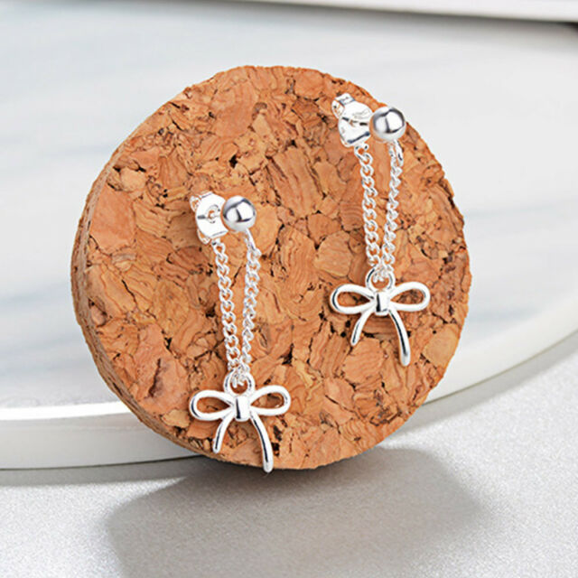 1Pair Fashion Exquisite Silver Alloy Bowknot Earrings For Women Jewelry Bijoux l