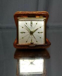 WORKING-Semca-7-Jewels-Leather-Travel-Alarm-Clock-Mechanical-Windup-Vintage-MCM