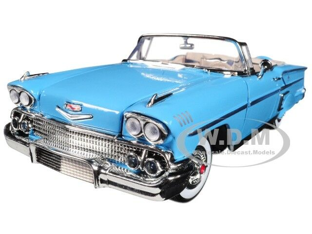 1958 CHEVROLET IMPALA blueE TIMELESS CLASSICS 1 18 DIECAST CAR BY MOTORMAX 73112