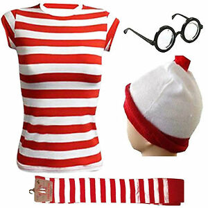 NEW WOMENS GIRLS T-SHIRT KIT RED & WHITE STRIPS HEN PARTY COSTUME SMALL TO XXL