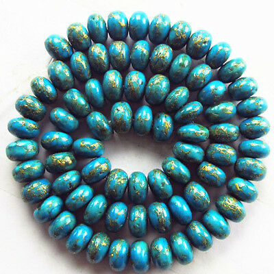 R0039130 Beautiful Copper Turquoise Rondelle loose bead 15.5 inch 8x5mm