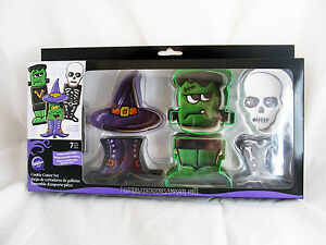 Wilton-Halloween-Party-Metal-Cookie-Cutters-Set-Frankenstein-Witch-Hat-Skeleton