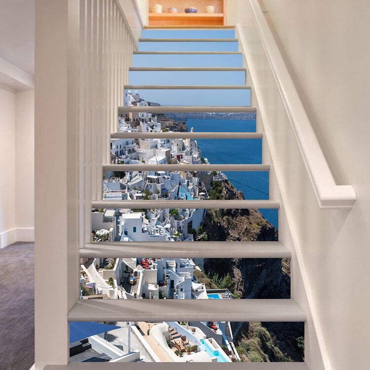 3D Seaside house Stair Risers Decoration Photo Mural Vinyl Decal Wallpaper AU