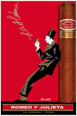 2757.Romeo y Julieta Churchill POSTER.Tobacciana.Cuban Cigar Room Tan.Decorative