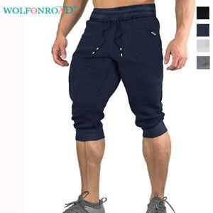 Mens-Cotton-Shorts-Jogger-Sweatpants-Capri-Pants-Gym-Basketball-Running-Shorts