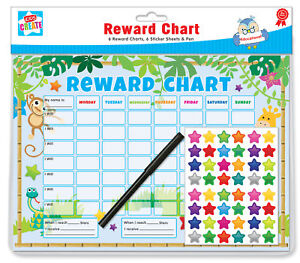 6-Jungle-Themed-Childrens-Reward-Charts-with-Star-Stickers-amp-Pens-by-Kids-Create