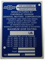Reproduction Data Tag / Identification Plate For 1964 - 1965 Chevy Truck