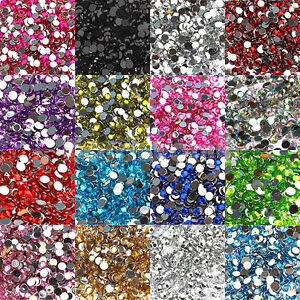 2000-Crystal-Rhinestone-Silver-Flat-Back-Diamante-Acrylic-Gems-Nail-Decor-2mm