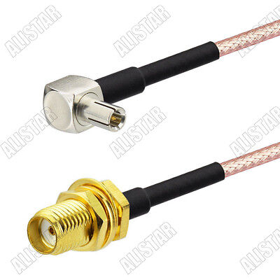 6 inch Rf Connector Rp-sma Female nut Straight to Ts9 Male Right Angle Assembly Extension Coaxial Cable RG316 15cm for Wireless Antenna Ships From USA