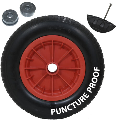 14 Red PU Puncture Proof Wheelbarrow Wheel Tyre Solid Lightweight Foam 3.50 - 8