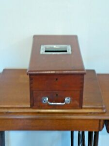 Antique Vintage 19th Century  Wooden Cash Till With Wooden Drawer