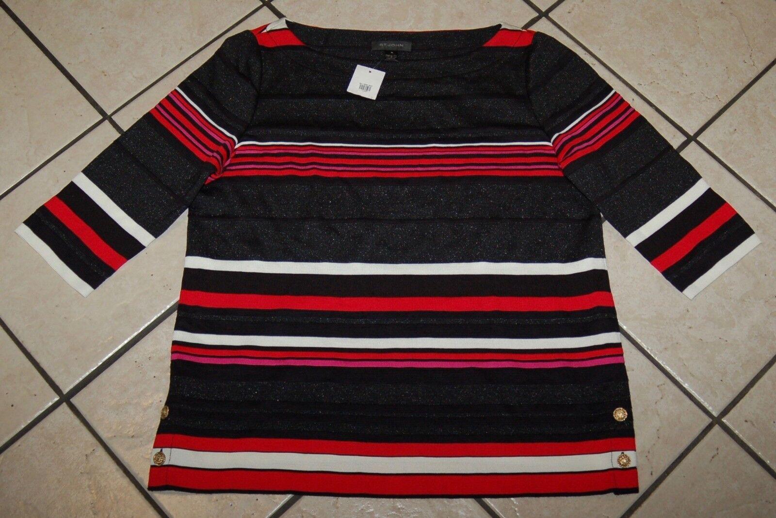 St John Woherrar Milano Knit Tunic, K51F011, Caviar Multi, Storlek XL