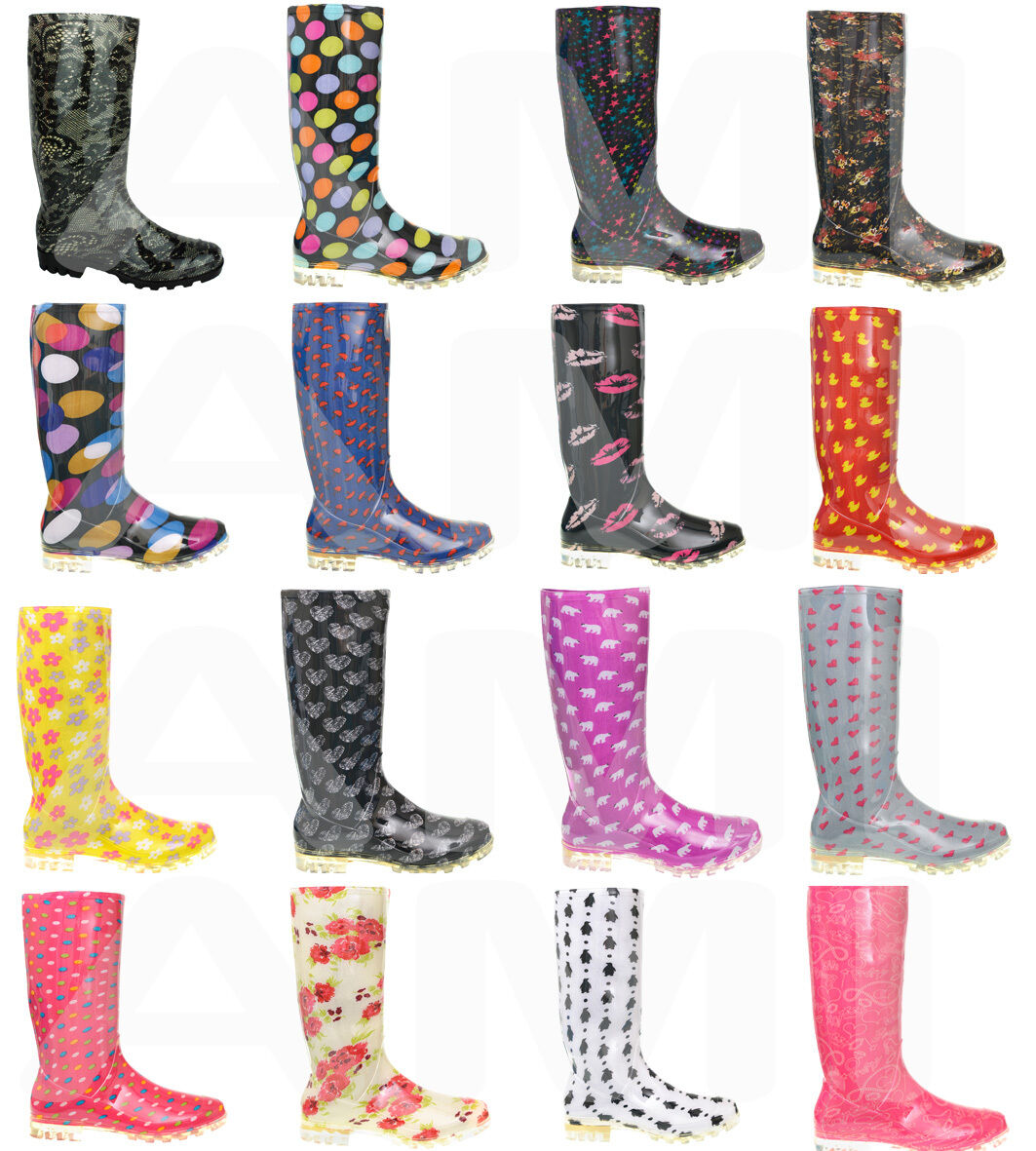 Grandes zapatos con descuento LADIES WOMENS GIRLS WELLIES BOOTS SIZES 3 4 5 6 6.5 7 WINTER WELLY OUTDOORS COLD