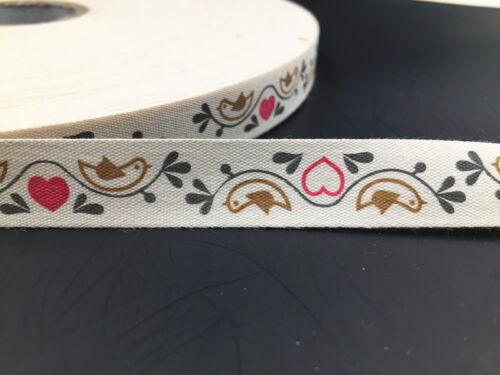 5-10 yardas 15mm cinta de algodón ecológico Amor Pájaro hecha a mano de decoración del hogar Artesanía Coser