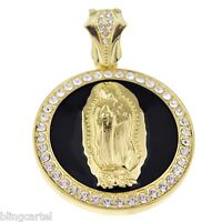 Virgin Mary La Virgen De Guadalupe Round Pendant Gold Tone & Black 48 Mm Charm