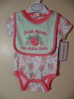 Thank Heaven For Little Girls Flower Roses One Piece & Bib, Sz 0-3m, 3-6m