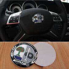 x1 Black & Green AMG Steering Wheel Badge 5.2cm Emblem Sticker For Mercedes Benz