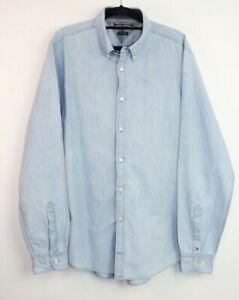 Tommy Hilfiger New York Fit Blue Polka Dot Long Sleeve Men's Shirt Size L