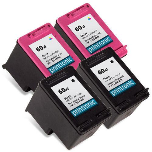 4PK HP 60XL Ink Cartridge Black CC641WN CC644WN Deskjet ENVY PhotoSmart Printer