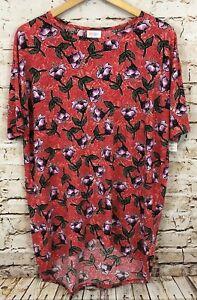 LuLaRoe-top-shirt-Irma-womens-small-tunic-red-floral-purple-NEW-B6