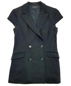 Rag-amp-Bone-Black-Cap-Sleeve-Blazer-Size-2-Womens