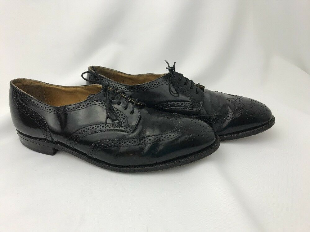 Johnston & Murphy Wingtip Black Leather Leather Leather Mens Dress shoes 10 Vtg Style Rockabilly e8ba1c