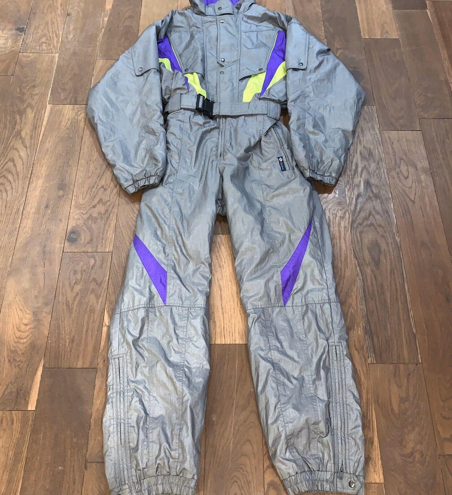 """Mens True Vintage 80s grau Neon lila Gelb Entrant Ski Suit 52"""" Chest L XL"""