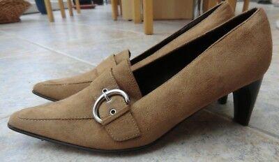 Pumps Schuhe Gr. 38 NEU Damenschuhe hellbraun beige Veloursleder Schnalle