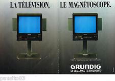 PUBLICITE ADVERTISING 065  1987  GRUNDIG  télévision & magnétoscope TV SCOPE (2p