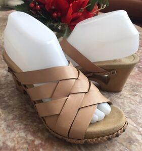 Dansko-Tory-3602160600-Tan-Leather-Slide-Sandals-Size-7-5-8-EUR-38-EUC-134