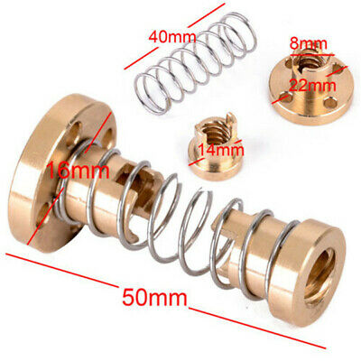T8 8mm Anti-backlash Spring Loaded Nut For 3D Printer Trapezoidal Rod Lead new