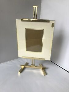 VINTAGE-Modernist-Brass-Miniature-Painters-Easel-Style-Adjustable-Picture-Frame
